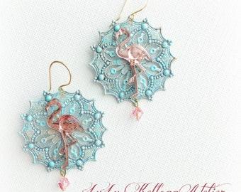 WHIMSICAL FLAMINGO EARRINGS, Flamingo Earrings, Beach Earrings, Mermaid Earrings