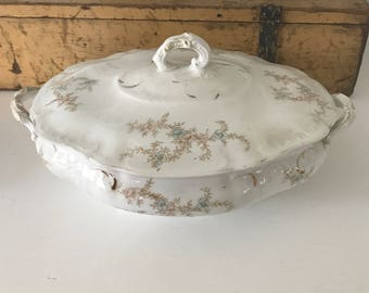 Lovely VINTAGE TRANSFERWARE TUREEN • Sprays of Pale Brown Blue Pink • Perfect For Farmhouse Entertaining, Decor !