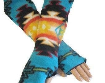 ON SALE Native American Style Arm Warmers Fingerless Gloves Fleece Wrist Hand Warmers Women Gift For Her Handmade Harry Potter Style Southwe