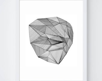 Line Drawing Diamond : Contemporary pen & ink drawings quirky by virginiakraljevic