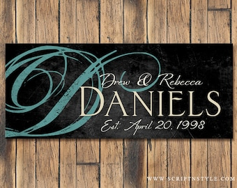 Personalized Wood Family Name Sign, Family Established Sign, Last Name Sign, Wall Art, Wedding Sign, Wedding Anniversary Gift