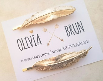Feather Bobby Pins Gold Feather Hair Pins Bird Feather Hair Clips Woodland Wedding