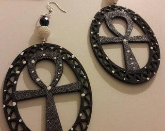 Midnight Star Ankh Earrings