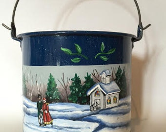 Hand Painted Blue Speckled Enamel Bucket