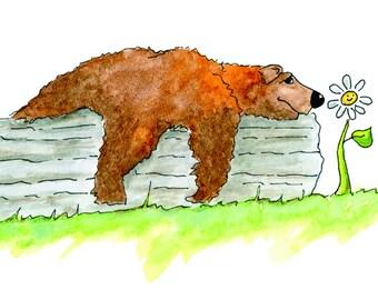 Cute Bear Art Print - Watercolor Bear Print - Playroom Decor - Bear Watercolor - Bear Print - Bear Print - Kids Room Art - Kids Room Decor