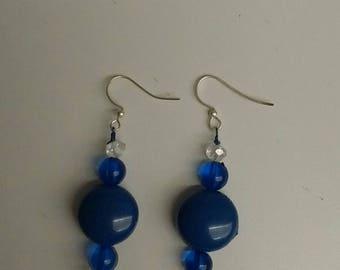 Blue & Clear Sparkle dangle earrings