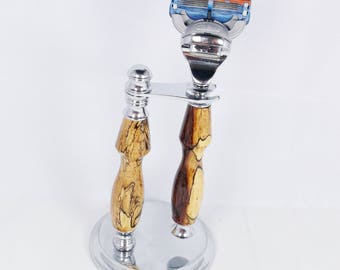Handcrafted Chrome Shaving Set designed for Fusion/M3/DE Safety Razor with Stand Spalted Tamarind wood