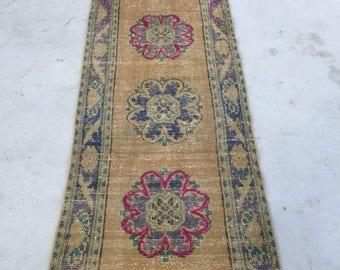 Turkish rug vintage rug patel rug runner rug oushak rug 8.9ft_2.4ft