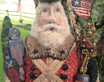 """Primitive Santa-""""TOY SOLDIERS & DRUMS""""-a magnificent 14.5"""" original Santa design handcrafted from vintage quilt w/handmade adornments."""