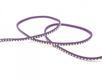 Purple suede with silver rivets, 3mm, by the yard