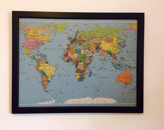 Corkboard map etsy worldmap beautiful decorative push pin to remember the places you visited 17 x 13 gumiabroncs Image collections