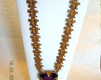 Vintage Deco Amethyst Crystal & guilded leaf design Necklace -