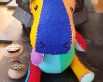 Multicoloured Collectible Hippo. Made from 100% Wool Felt.
