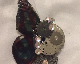 americana steampunk butterfly hair clip