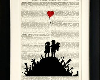 BANKSY - 'Peace' - original giclee print on antique book page - unique