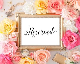 Wedding Reserved Printable - 5x7 Wedding Decor, Reserved Table Sign, Wedding Reserved, Printable Wedding Sign, Script Font