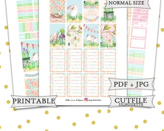 Pastel Easter Planner Stickers/Printable Easter kit/happy Planner Easter Stickers/Easter bunny pastel weekly sticker kit/Pink blue mint
