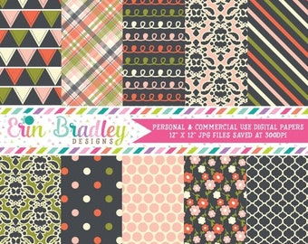 80% OFF SALE Digital Papers Damask Floral Polka Dot Triangle and Plaid Patterns Commercial Use Digital Scrapbook Paper