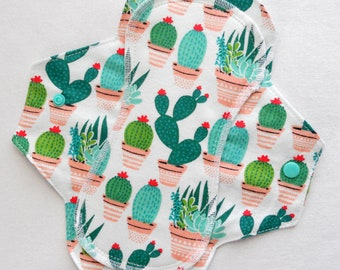 Menstrual Flannel Maxi Pad - 9.5 inch Reusable Eco Friendly Cotton Mama Cloths - Prickly Cactus Cacti Succulents Plants Glad Rags
