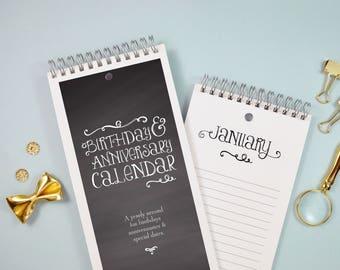 Perpetual Birthday Calendar - Chalkboard Style