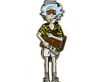 Rick and Morty + Hunter S. Thompson Enamel Pin Fear and Loathing Heady Festival Hat and Lapel Badge Las Vegas Gonzo
