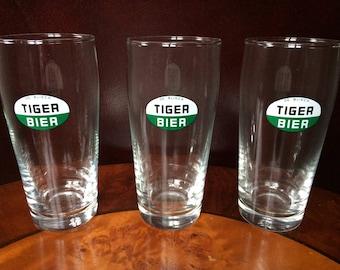 set of 3 Tiger Beer glasses
