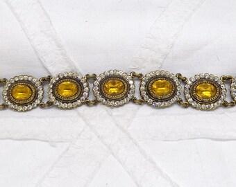 Original Vintage 1920's Citrine Yellow Rhinestone And White Rhinestone Gold Plated Chain Linked Bracelet