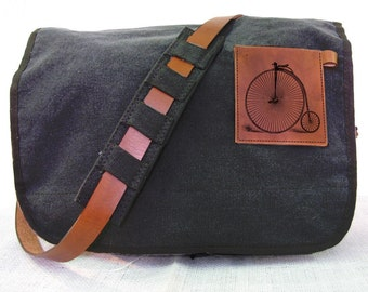 black canvas messenger bag with leather accents - bike bag