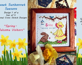 "SWEET SUNBONNET SEASONS-design 1 of a set of 4 - ""Spring-Welcome Visitors"" cross stitch chart graph pattern"