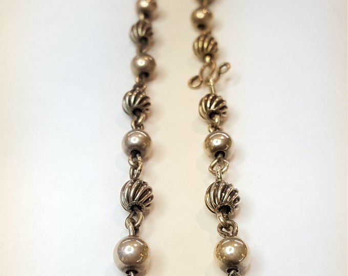 "Artisan Hand Crafted Silver Necklace 14-1/2"" Beads Links Chain"