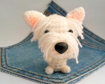 Amigurumi Westie, crochet West Highland Terrier, crochet Dog, stuffed dog.