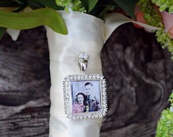 Bouquet Photo Charm Rhinestone Silver Square Wedding Bridal Memory Frame Bling
