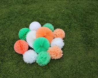 12pcs Mint Green Peach White Hanging Paper Fans Tissue Paper Pom Poms Flower and Honeycomb Balls for Birthday Party Wedding Festival Decor