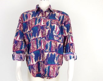 Vintage 90s Oversized Button Up Collared Shirt - Women's Baggy Colorful Cowboy Boot Print Top - Size Medium