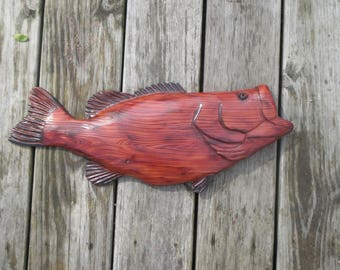 """20"""" Bass chainsaw carving, rustic cabin decor, wall hanging, wall plaque"""