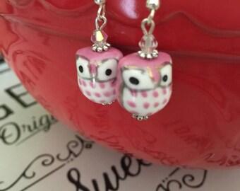 Its  a Hoot Hoot Pink Owl Earrings