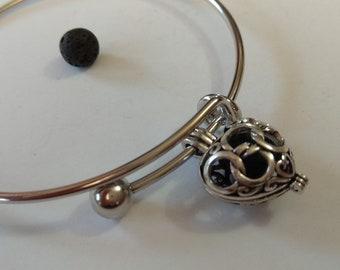 Heart Bangle silver essential oil diffuser, lava stone for aromatherapy