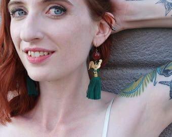 Teal Tassel, Carnelian, and Rooster Tassel Earrings Colorful Tassel Necklace // Rooster Pendant // Festival Jewelry // Gift for Her // Boho