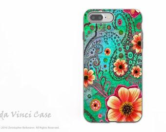 Teal Paisley Floral - Artistic iPhone 7 PLUS - 8 PLUS Tough Case - Dual Layer Protection - Green and Orange Floral Art - Paisley Paradise