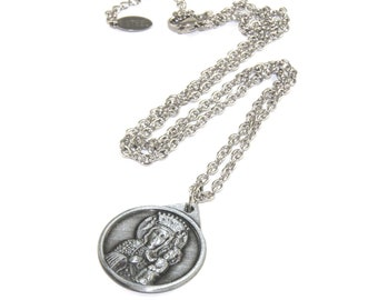 St Christopher and Our Lady of Perpetual Help Medal Pendant, Stainless Steel Chain