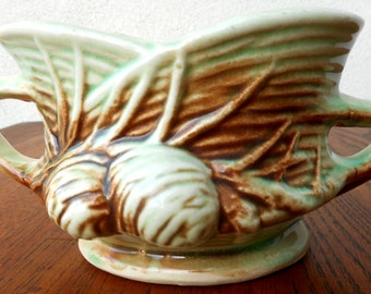 McCoy Pottery Pinecone Handled Sugar, 1940's Vintage