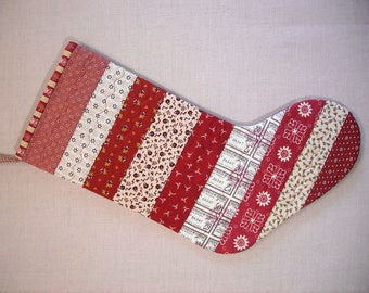 Quilted Christmas Stocking - Strings - Red and Cream 19th Century Prints