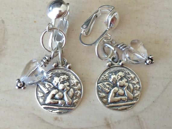 Sterling Angel Charm & Crystal Heart Clip On Earrings