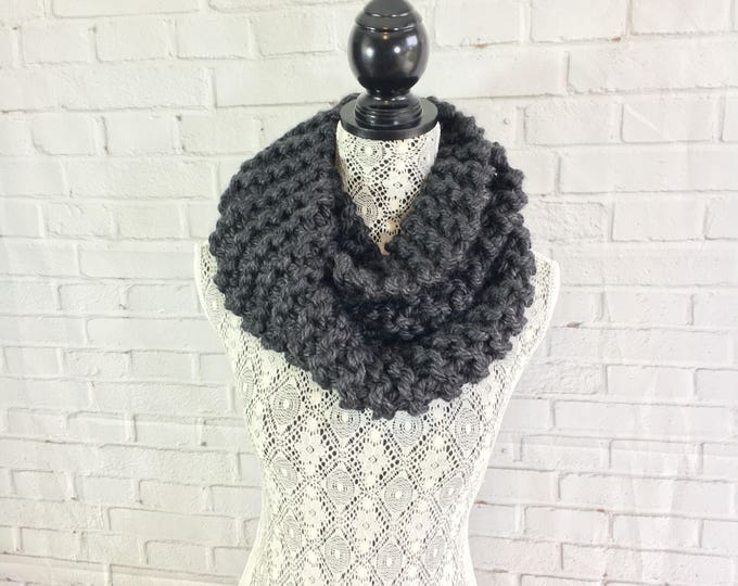 Charcoal gray / knit infinity scarf / ready to ship / knitted scarf / gift for her / made in Canada / charcoal gray scarf / unisex scarf