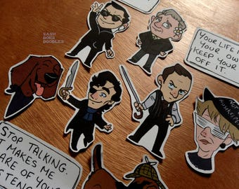 BBC Sherlock stickers and sticker pack -Moriarty, John Watson, Mycroft, Mrs Hudson, Sherlock Holmes and more!