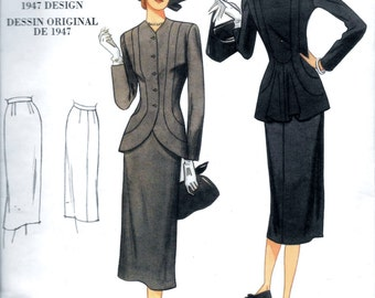 Vogue V1019 Vintage 1940s 2-Pc Suit Fitted Jacket and Pencil Skirt Sewing Pattern 1019 Size 6, 8, 10 and 12