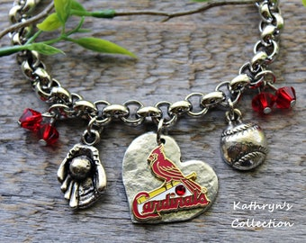 St. Louis Cardinals Bracelet, Cardinals Jewelry, Cardinals Fan Wear, Baseball Jewelry
