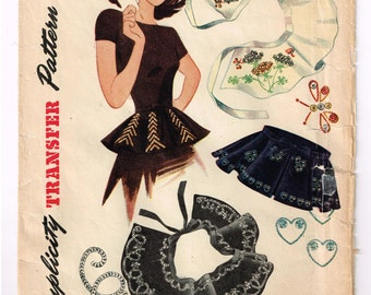 Vintage Peplum Sewing Pattern with Embroidery Transfers