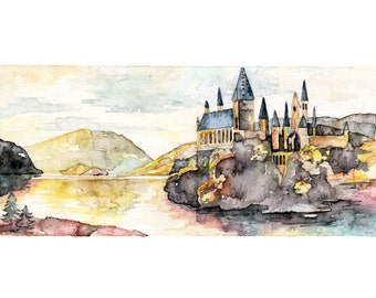 """Harry Potter Painting, Hogwarts Painting, Watercolor Painting, Harry Potter, Hogwarts Castle, JK Rowling, Print titled,""""I Open at the Close"""""""