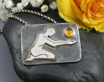 Sterling Silver 18K Gold and Citrine Necklace - silver Art necklace - Figure necklace - silver citrine pendant
